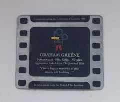 A plaque commemorates Graham Greene's time as a journalist in Nottingham.