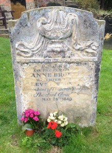 The original headstone marking Anne Brontë's grave.