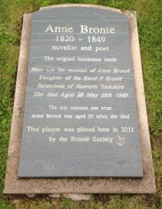 The 'corrected' headstone placed by the Brontë Society.